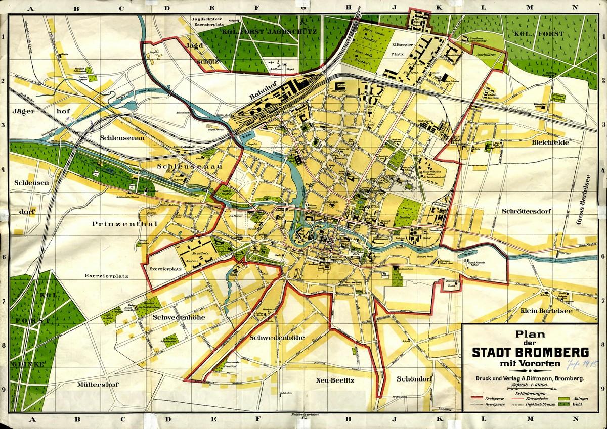 Plan Bydgoszczy Z Peryferiami 110k Ok 1914 Stare Mapy