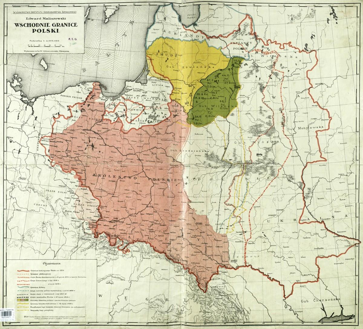 Wschodnie Granice Polski E Maliszewski 1920 Rok Stare Mapy