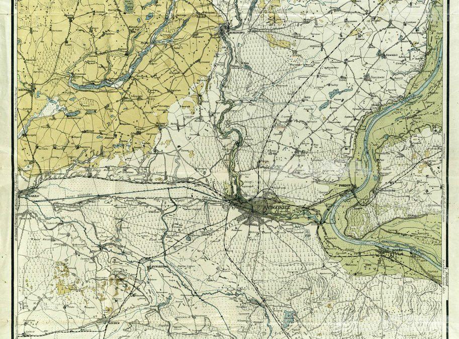 Mapa powiatu bydgoskiego 1:100k 1927 rok