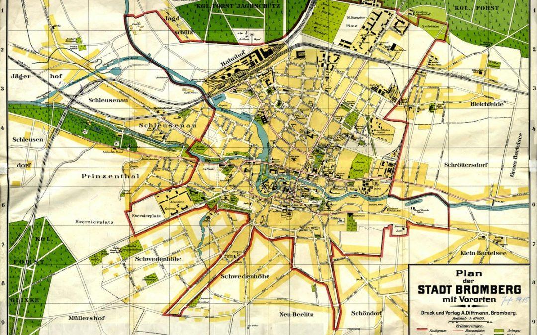 Plan Bydgoszczy z peryferiami 1:10k ok 1914
